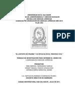 El Anticipo de Prueba y Su Eficacia en El Proceso Civil