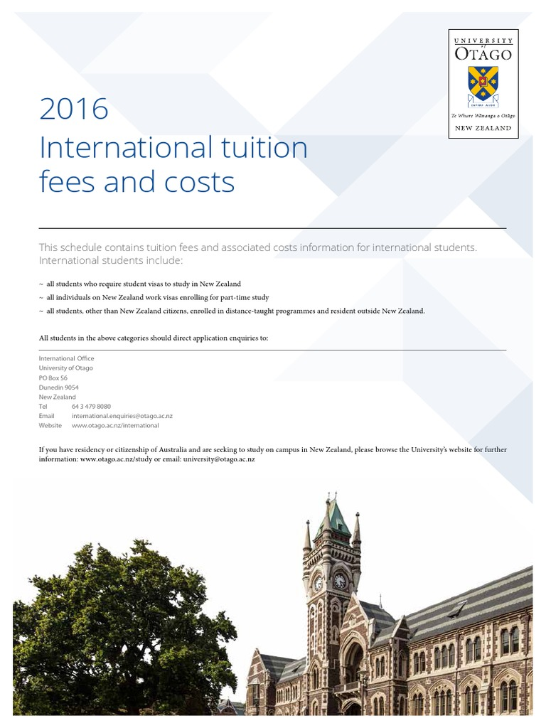 University of Otago - International Tuition Fess and Costs 2016 ...