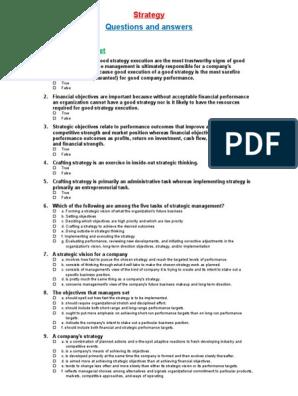 Strategic Management Multiple Choice Questions | Strategic