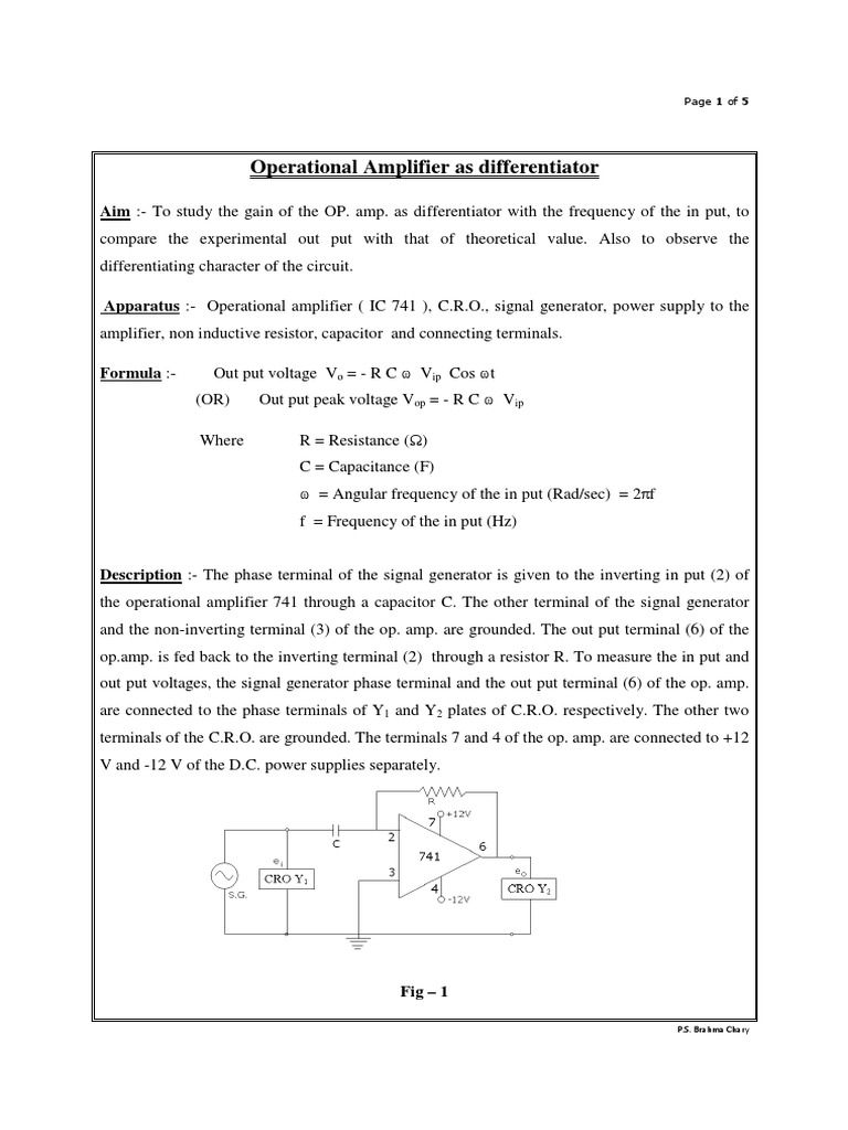 Operational Amplifier 741 As Differentiator2 Capacitor Dark Active Switch Circuit Opamp Electronics Projects Circuits