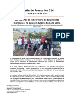 Boletín 014 Las Acciones de La Secretaria de Salud en Los Municipios, No Pararon Durante Semana Santa