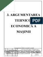 3-Argumentarea Tehnico-economică a Mașinii