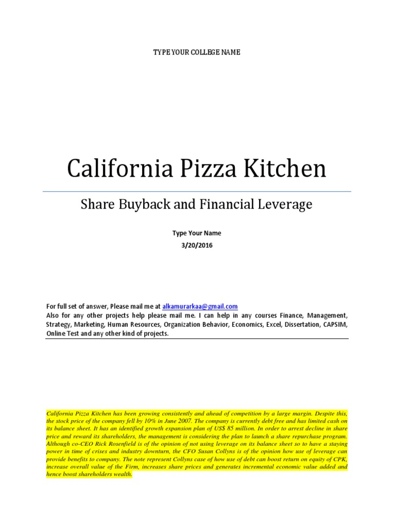 Word Note California Pizza Kitchen   Cost Of Capital   Leverage ...