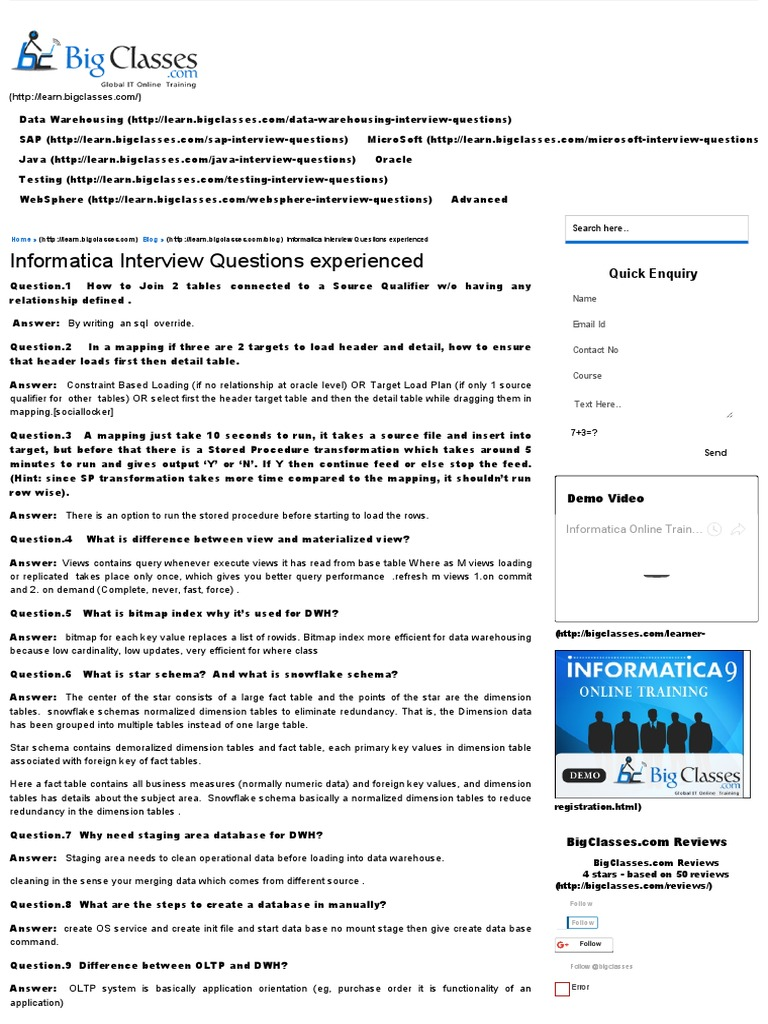 19 Informatica Interview Questions Experienced   Database