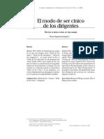 El modo de ser cínico de los dirigentes  / Avaro Zapata Dominguez
