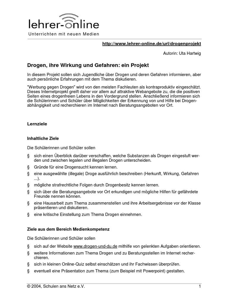Anti Drogenprojekt Projektbeschreibung