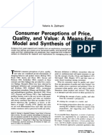Consumer Perceptions of Price, Quality, And Value. a Means- End Model and Synthesis of Evidence. Journal of Marketing, Vol. 52, Nr. 3, Pp. 2-22.