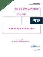 Criterios de Evaluación ONE 2016 Ciencias Sociales Educación Primaria