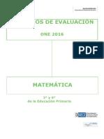 Criterios de Evaluación ONE 2016 Matemática Educación Primaria