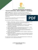 Politica de Gestion Integradade Seguridad y Salud Ocupacional