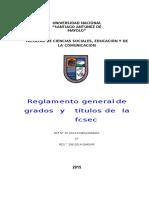 Reglamento de Grados y Titulos de La FCSEC 2015