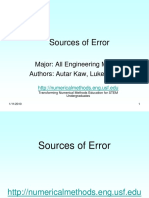 Source of Erros in Numerical Methods