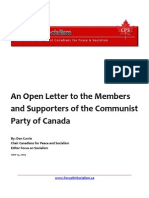 An Open Letter to the Members and Supporters of the Communist Party of Canada