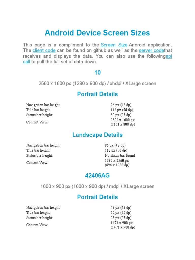 Android Device Screen Sizes | Graphical User Interfaces | Software