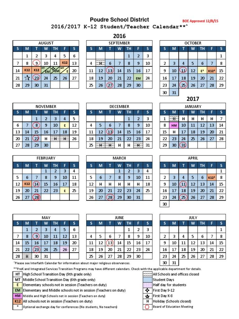 psd 2016 17 calendar   Middle Schools   Educational Organizations