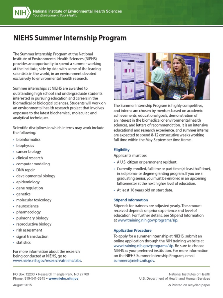 Niehs Summer Internship Program 508