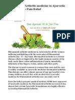 Rheumatoid Arthritis medicine in Ayurveda For Complete Pain Relief