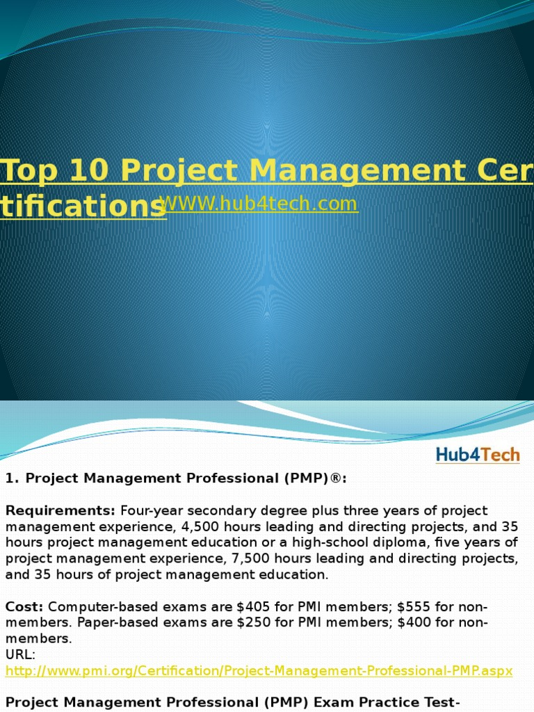 Top 10 Project Management Certifications Professional