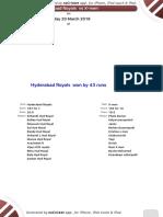 QUARTER FINAL 2 - Hyderabad Royals -X-men