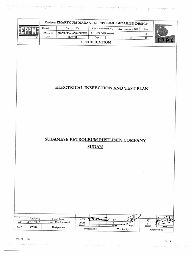 R1111-PRC-EL-00-001 ELECTRICAL INSPECTIO AND TEST PLAN.pdf | Cable |  Electric Generator