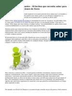 Forex para principiantes - 10 hechos que necesita saber para el éxito de operaciones de Forex