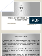 TRIAL OF SUMMON CASES BY MAGISTRATE