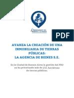 2016 - 03 - Marzo - 29 - Sobre La Agencia de Bienes S.E. y Las Privatizaciones en La Gestión Del PRO