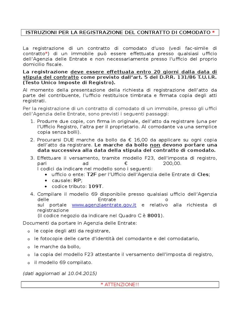 Contratto Di Comodato Facsimile Ed Istruzioni Per La