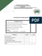 Criterios de Evaluación Extraclase Mantenimiento
