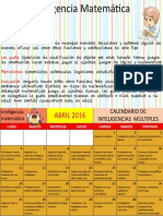 Calendario de Inteligencias Multiples Mes Abril Matematica
