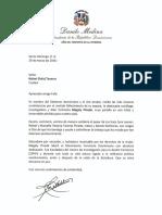 Carta de Condolencias del Presidente Danilo Medina a Rafael (Fafa) Taveras por Fallecimiento de su Esposa, Magaly Pineda