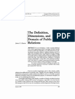 Hutton, The Definition, Dimensions, And Domain of Public Relations