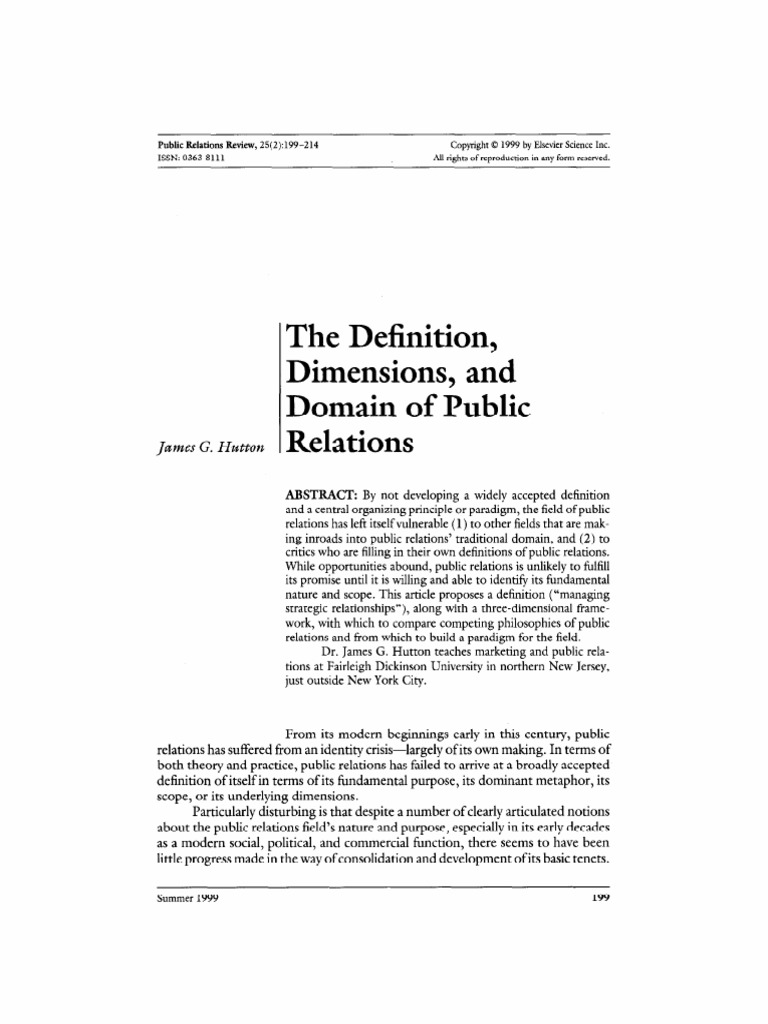 Hutton, The Definition, Dimensions, And Domain Of Public Relations | Public  Relations | Reputation