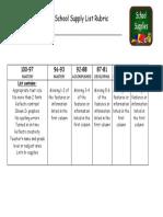 school supply list rubric
