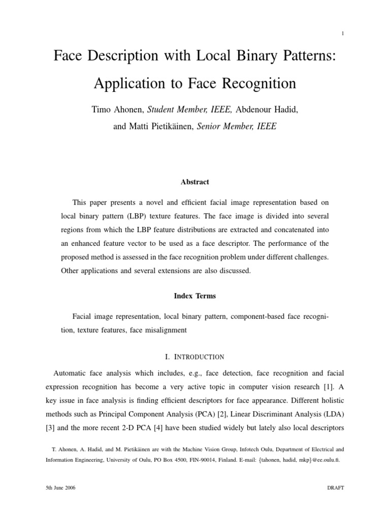 FaceRecognitionusing LocalBinary Patterns | Principal