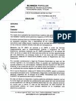 Peticion a ONPE de No Aplicacion de Voto Electronico - Alianza Popular