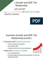 Realationship of Economic Growth & GDP
