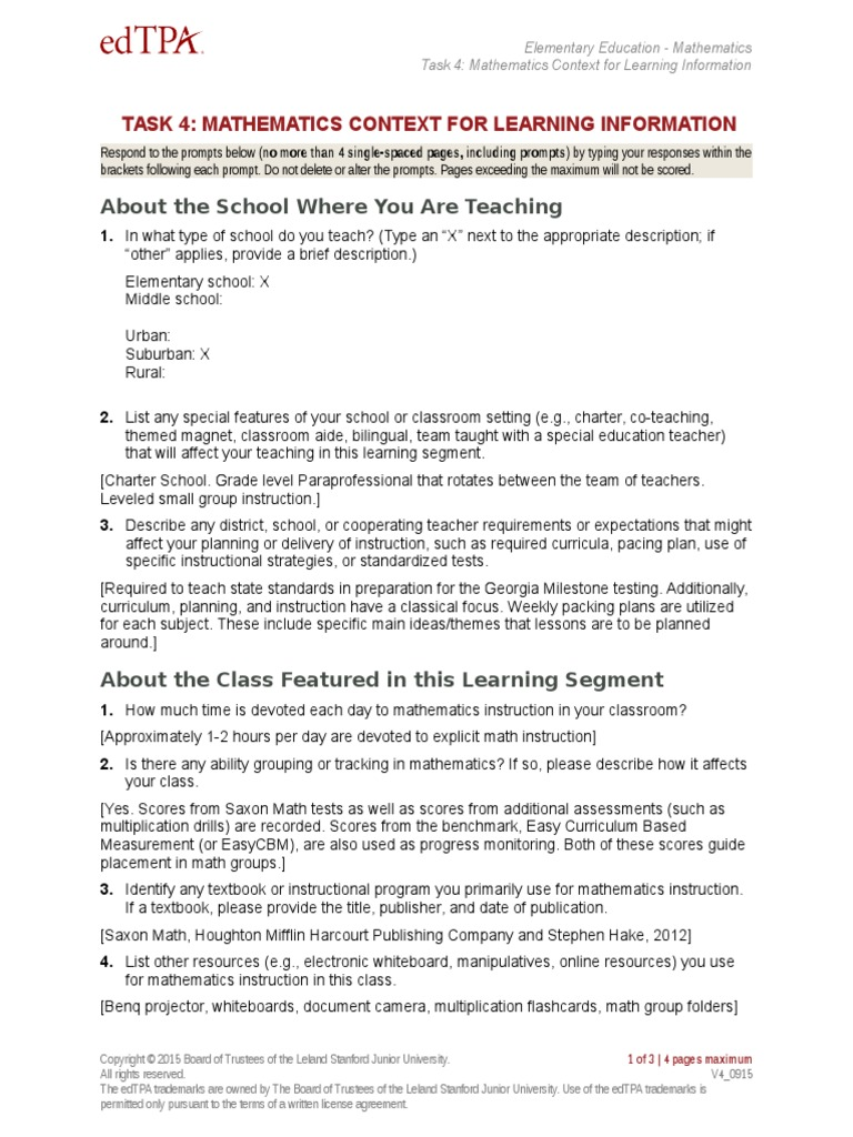 Task 4a Math Context For Learning Individualized Education Program