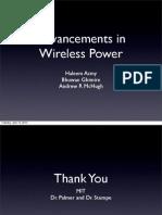 Advancements in Wireless Power (Energy Transfer)
