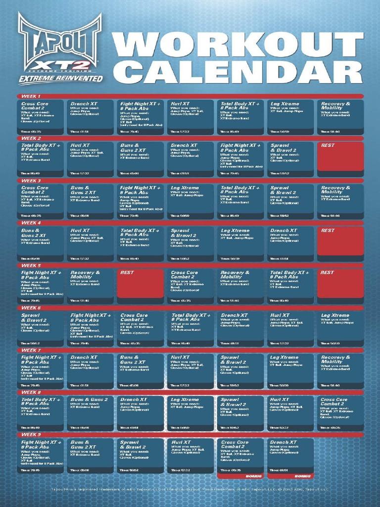 Xt2 Workout Calendar Pdf