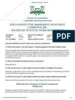 field instructor assessment - senior year