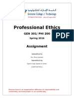Assignment - Professional Ethics