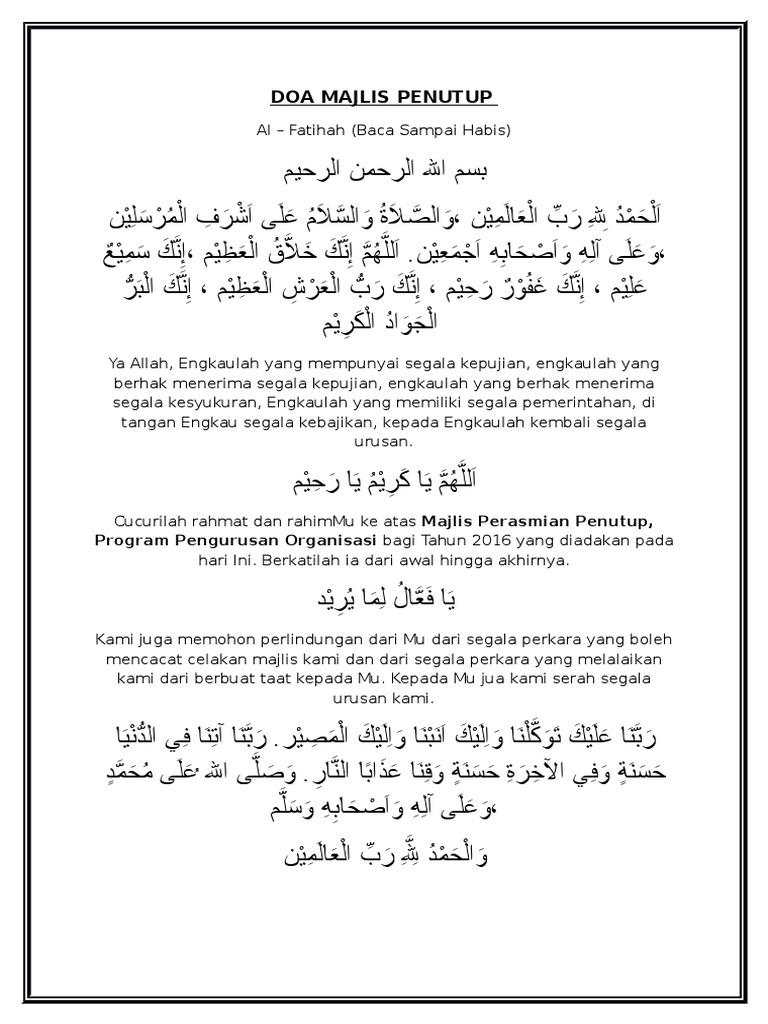 Doa Ringkas Majlis Penutup Contoh