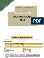 UNIDAD DE APRENDIZAJE 2° GRADO ED. PRIMARIA MES DE MARZO 2016
