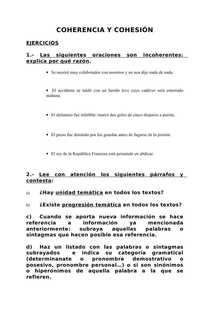 Ejercicios Sobre Coherencia Y Cohesión Pronombre Idiomas