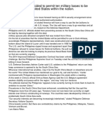 The Philippines decided to permit ten military bases to be operated by the United States within the nation.