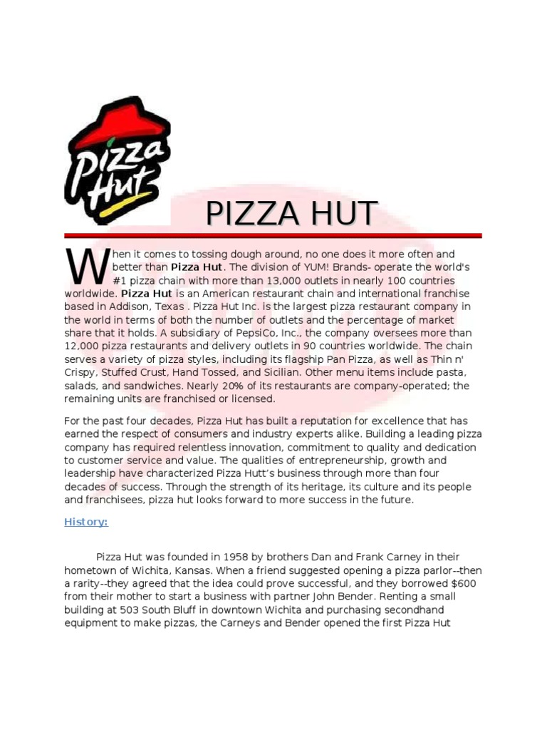 Final Report Pizzahut Franchising Restaurant And Catering