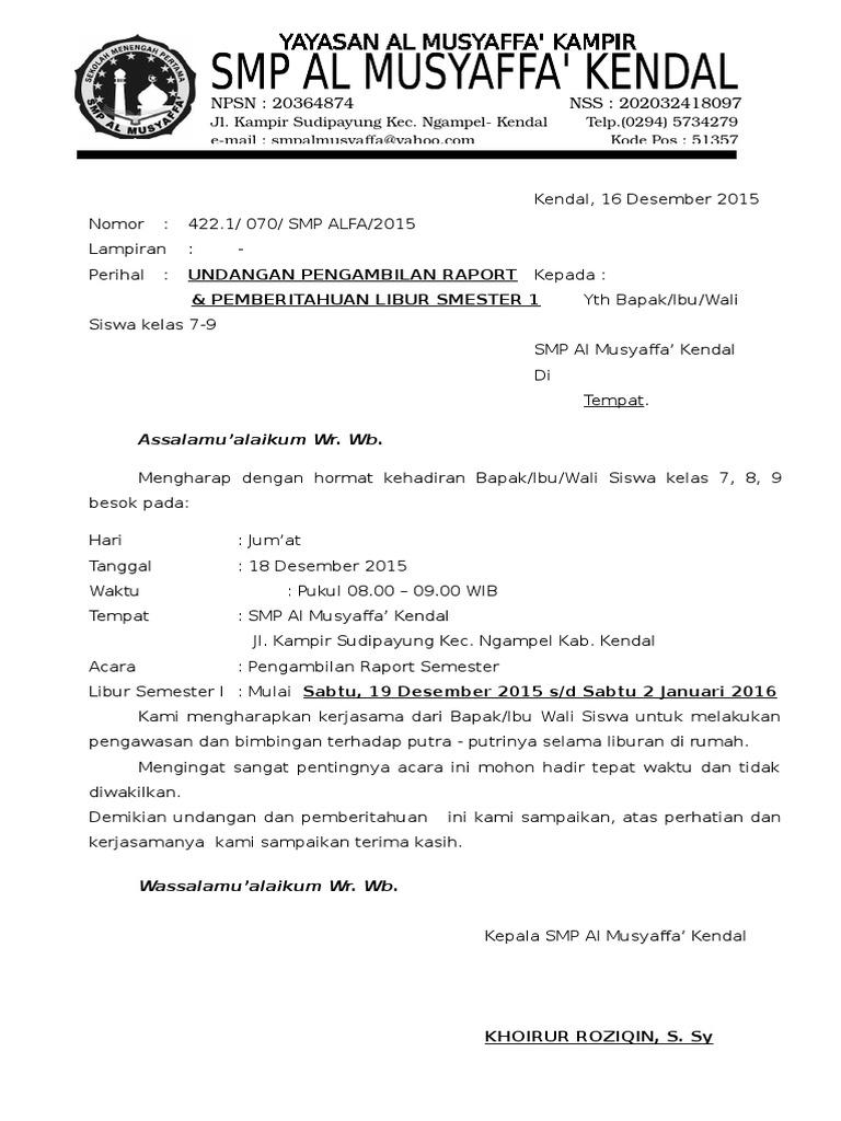 Contoh Surat Undangan Wali Murid Pengambilan Raport ...