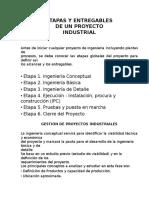 Entregables de Un Proyecto Industrial