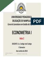 Aulas 02 Econometria2014 [Modo de Compatibilidade]